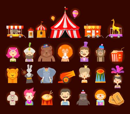 circus caravan: fun fair. circus performers and animals. vector illustration