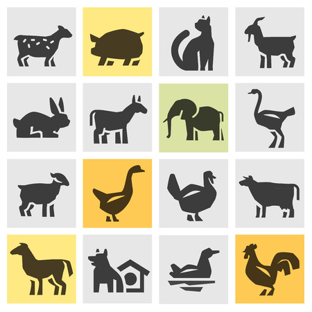 watchdog: farm animals. Icons in the background. vector illustration