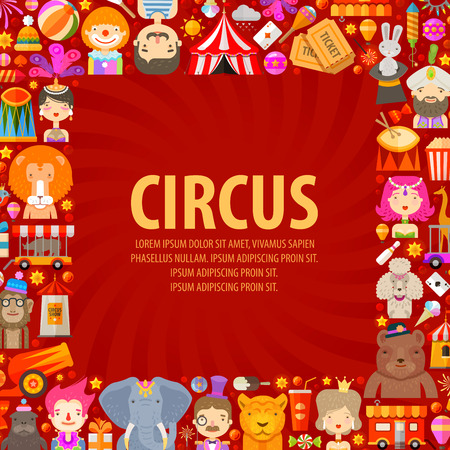circus ticket: fun fair. circus performers and animals on a red background
