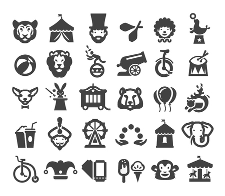 cannon ball: fun fair. set of icons. circus performers and animals on a white background Illustration