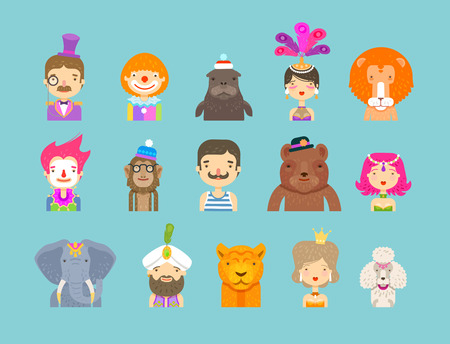 performers: fun fair. set of icons. circus performers and animals. vector illustration
