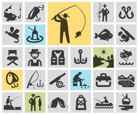 nibble: fishing. Icons in the background. vector illustration