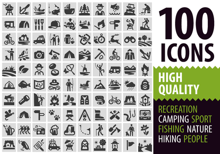 hiking: hiking. Collection of icons on a gray background. vector illustration Illustration