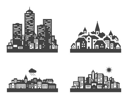 townscape: city. set of icons on white background. vector illustration