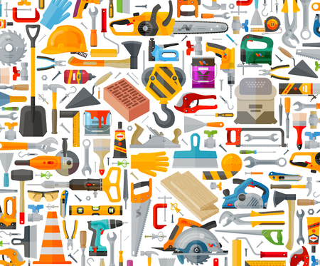 bouw tools op een witte achtergrond. vector illustratie Stock Illustratie