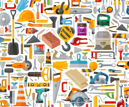 herramientas de carpinteria: herramientas de construcción sobre un fondo blanco. ilustración vectorial Vectores