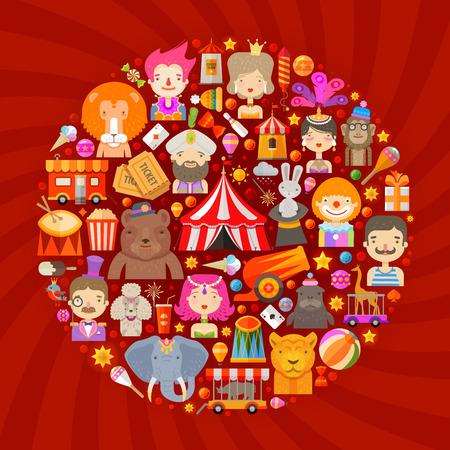 payasos caricatura: circo. conjunto de iconos sobre un fondo rojo. ilustración vectorial