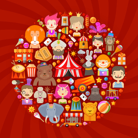 cartoon circus: circus. set of icons on a red background. vector illustration
