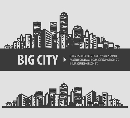都市。灰色の背景に黒いアイコンのセットです。ベクトル図