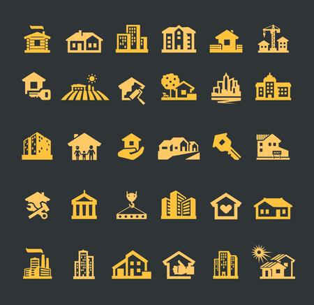 logo batiment: bâtiment. Ensemble d'icônes sur un fond noir. illustration vectorielle