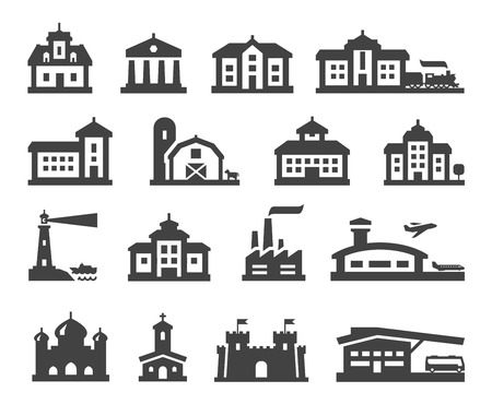 hotel icons: building. Set of icons on a white background. vector illustration