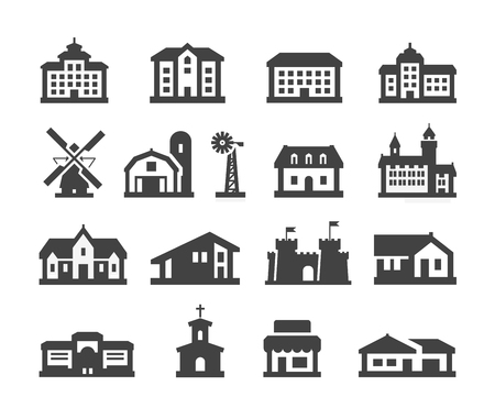 villa: building. Set of icons on a white background. vector illustration