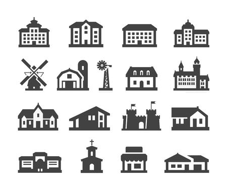 molino: edificio. Conjunto de iconos sobre un fondo blanco. ilustraci�n vectorial