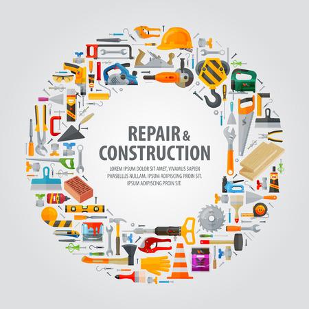 logotipo de construccion: herramientas de construcción sobre un fondo gris. ilustración vectorial Vectores