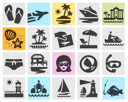sandalias: viaje. Iconos en el fondo. ilustración vectorial
