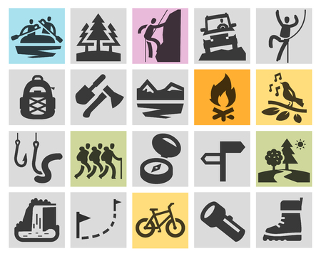 animales del bosque: hiking. collection of icons in the background. vector illustration