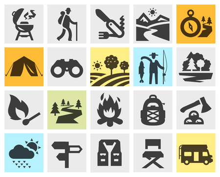 triptych: hiking. collection of icons in the background. vector illustration