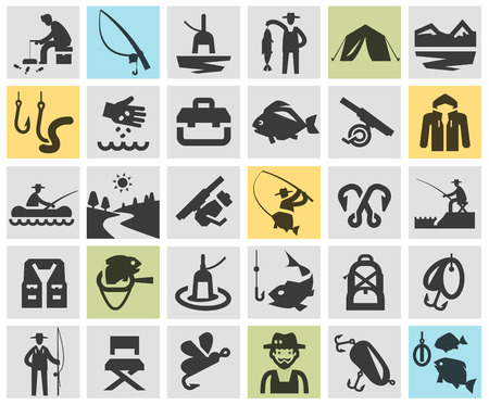 ice fishing: fishing. Icons in the background. vector illustration