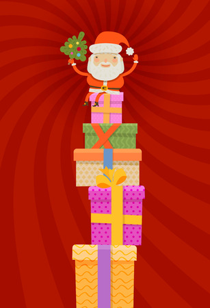 gaffer: Santa Claus and Christmas gifts. vector illustration