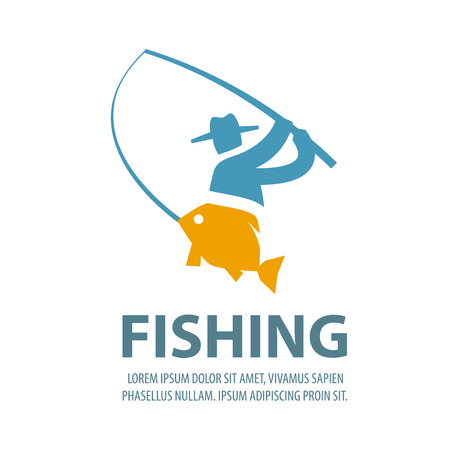 rod sign: fisherman and fish on a white background. vector illustration