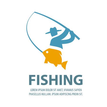 logotipo turismo: pescador y el pescado sobre un fondo blanco. ilustración vectorial Vectores