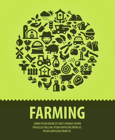 labranza: granja. conjunto de iconos sobre un fondo verde. ilustración vectorial