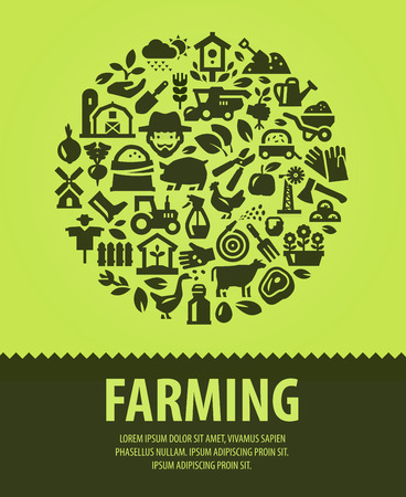 farm. set of icons on a green background. vector illustration