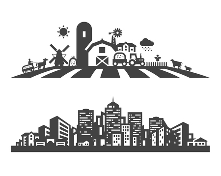 granja: edificio. Conjunto de iconos sobre un fondo blanco. ilustración vectorial