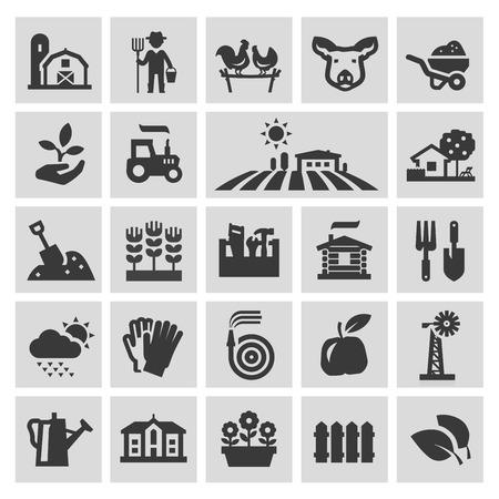 GRANJA: granja. conjunto de iconos de negro sobre fondo gris. ilustración vectorial