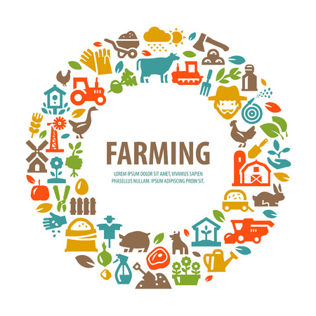 farms: farm. set of icons on white background. vector illustration