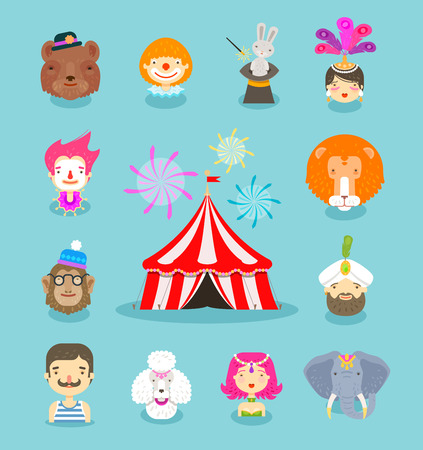 circus performers: fun fair. circus performers and animals. vector illustration
