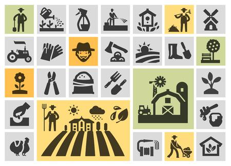 jardineros: granja. Los iconos en el fondo. ilustración vectorial