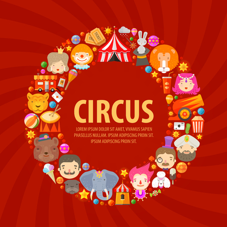 fun fair: fun fair. circus performers and animals. vector illustration