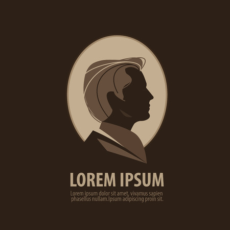 unisex: silhouette of a man head on a dark background. vector illustration