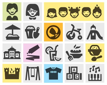 preschool teacher: preschool education. set of icons on a gray background. vector illustration