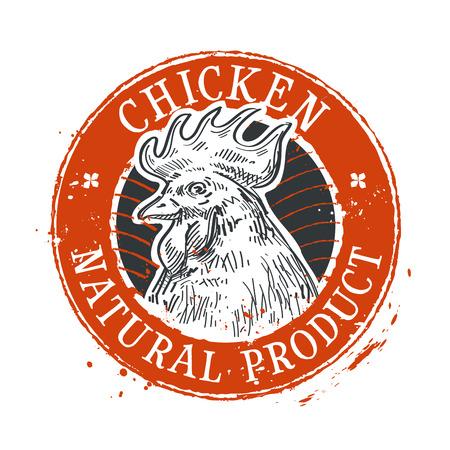 natural cock: Cockerel on a white background. sketch. vector illustration