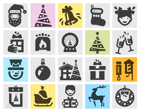 christmas winter: Christmas icons on a gray background. vector illustration