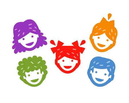 kids background: happy faces of children on a white background. vector illustration