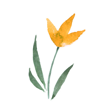 transparently: yellow flower on a white background. vector illustration