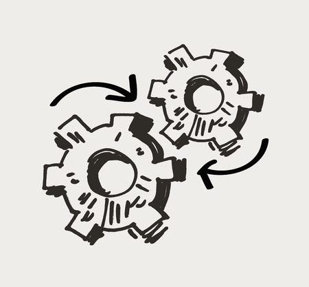 deed: rotation of the gears on a light background. vector illustration