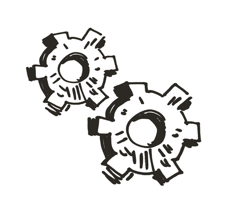 meshed: gears isolated on white background. Doodle. vector illustration