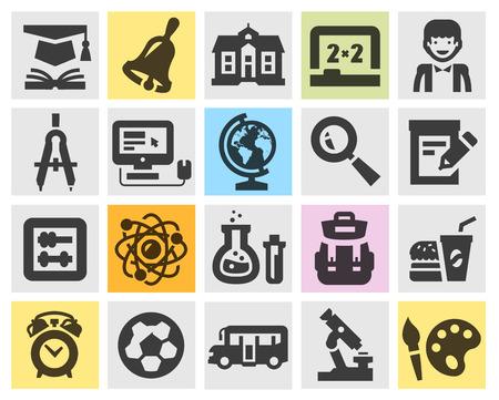 onderwijs, school. collectie iconen op grijze achtergrond. vector illustratie