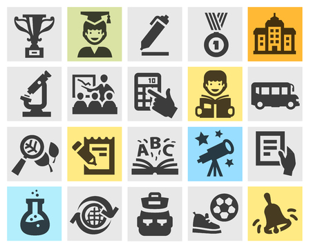 school bag: education, school. collection icons on gray background. vector illustration Illustration