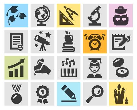 study: la educación, la escuela. colección de iconos sobre fondo gris. ilustración vectorial