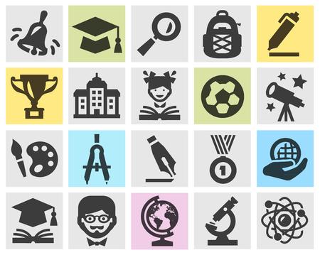 pelota de futbol: la educaci�n, la escuela. colecci�n de iconos sobre fondo gris. ilustraci�n vectorial