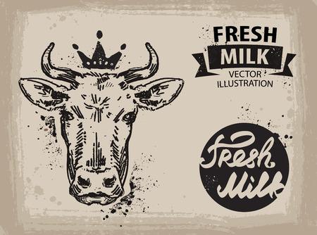 carne de res: vaca con una corona en la cabeza. ilustración Vectores