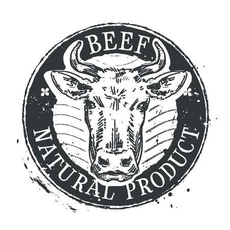hoofed mammal: cow head on white background. illustration Illustration