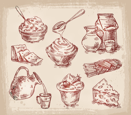 lacteos: colección de productos lácteos. bosquejo. ilustración