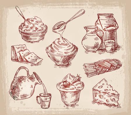 yaourts: la collecte des produits laitiers. esquisser. illustration
