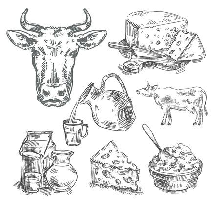 casa de campo: productos lácteos en el fondo blanco. bosquejo. ilustración